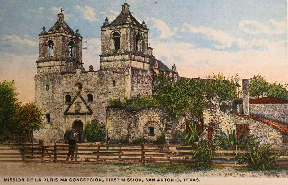 A historic postcard of Mission Concepcion. Photo: Courtesy UTSA Special Collections / ©San Antonio Express-News/John Davenport