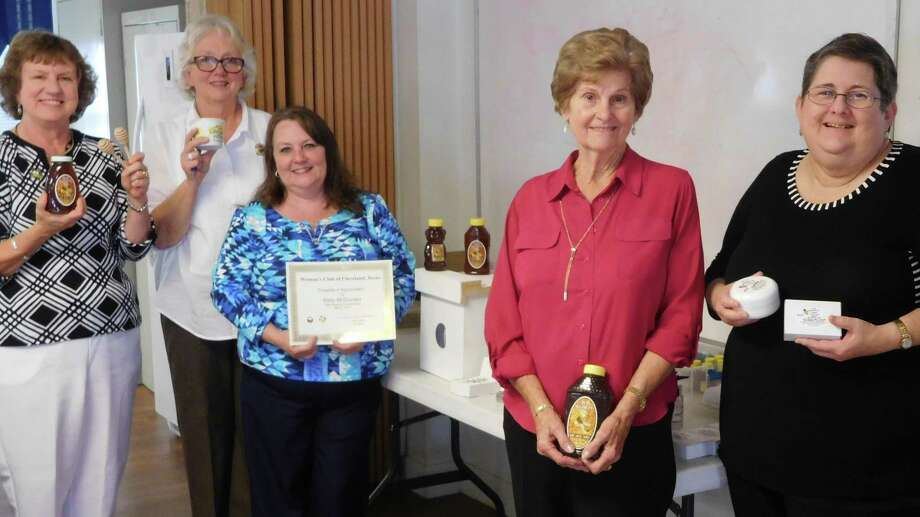 Cleveland City Manager Kelly McDonald (center) shared her enthusiasm and knowledge for beekeeping with the Woman's Club of Cleveland. Pictured left to right are Claire Garrett, President Carol Jordan, McDonald, Claire Barker and Pat Barrington. Photo: Submitted