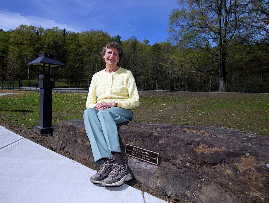 Were you Seen at the grand opening of the Thacher Park Center at John Boyd Thacher State Park on May 4, 2017? Pictured: Martha Schroeder on the sponsored bench in memory of her husband, Fred Schroeder. Photo: Mike Groll