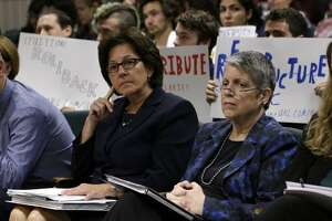 Monica Lozano, left, chair of the University of California Board of Regents, and UC President Janet Napolitano, sit in the audience before appearing before the Joint Legislative Audit Committee Tuesday, May 2, 2017, in Sacramento, Calif. Lawmakers where looking into an audit, conducted by the office of State Auditor Elaine Howle, that found that UC administrators hid $175 million from the public while the university system raised tuition and asked lawmakers for more money. Napolitano has disputed the audit's findings.(AP Photo/Rich Pedroncelli)