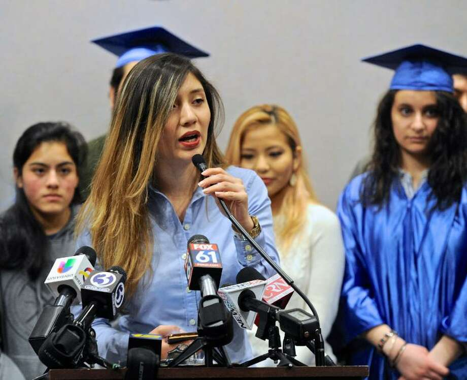 Angelica Idrovo of Danbury at a press conference for Connecticut Students for a Dream in Hartford in January. Photo: / H. John Voorhees III