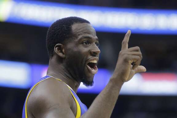 Golden State Warriors forward Draymond Green reacts to the Utah Jazz fans in the second half during Game 3 of the NBA basketball second-round playoff series Saturday, May 6, 2017, in Salt Lake City. Warriors won 102 - 91. (AP Photo/Rick Bowmer)