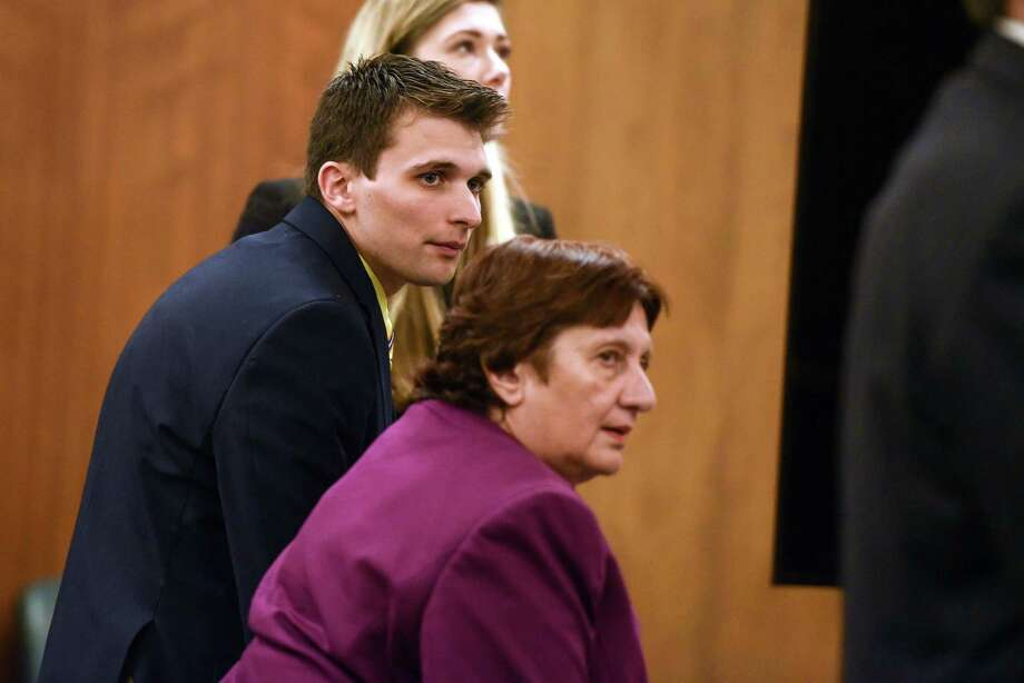 Alexander West and his defense lawyer Cheryl Coleman listen to the jury's verdict Monday afternoon, May 8, 2017, in the fatal boat crash case in Warren County Court. West was found guilty of eight of 12 counts with the weightiest charge being second-degree manslaughter. (Shawn LaChapellel/pool photo via Post-Star) Photo: Shawn LaChapelle / shawn LaChapelle