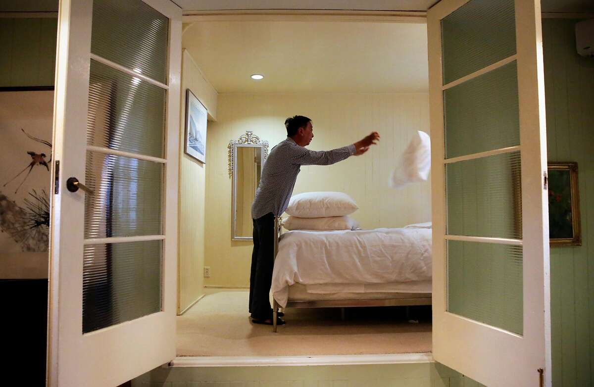Airbnb host Peter Kwan co-chairman of the Homesharers Democratic Club, prepares his rental for the next guest at his home in North Beach neighborhood in San Francisco, Ca., on Monday May 8, 2017. Kwan has been registered with the city ever since it became possible.
