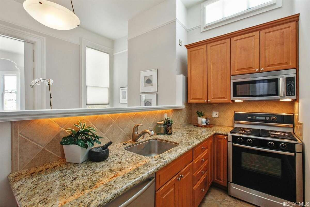 The kitchen in a top-floor condo in Pacific Heights at 1819 Lyon St., Apt. 3