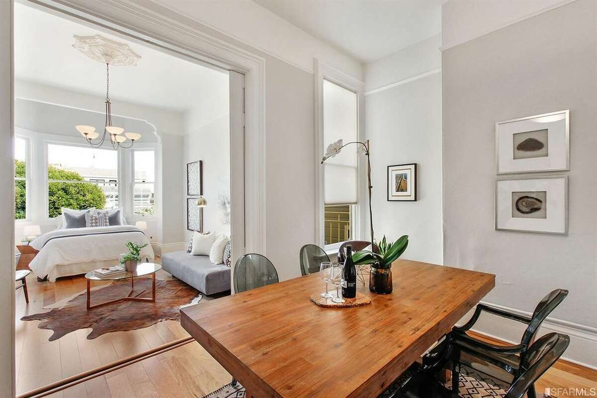 Pocket doors separate the living and dining areas in top-floor condo in Pacific Heights at 1819 Lyon St., Apt. 3