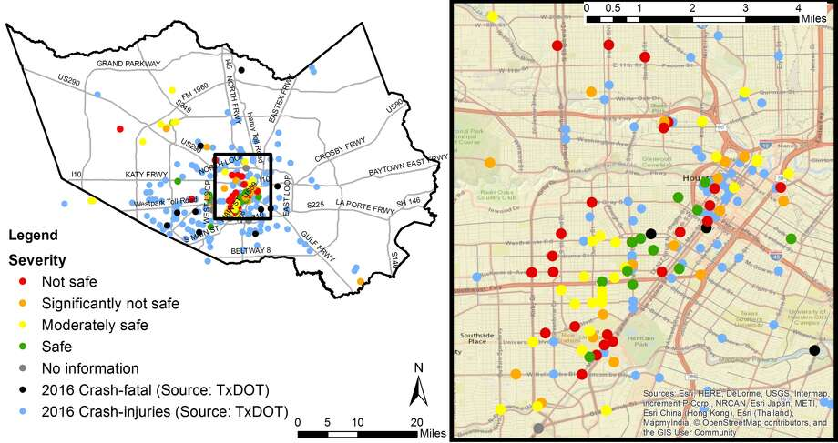 Potential dangerous trouble spots in Houston, according to data from TxDOT and the Kinder Institute's near-miss study. Photo: Kinder Institute For Urban Research