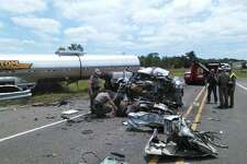 Scene from the fatal accident on Texas 62 near Interstate 10 on Monday.