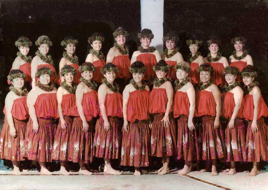 Jordan Keao, chef/owner of 'Aina, is framing this photo of his mother, Leilani Keao (top row, fifth from the left), and her hula troupe at Hawaii's annual Merrie Monarch competition, to display at his Dogpatch restaurant. Photo: Sarah Fritsche