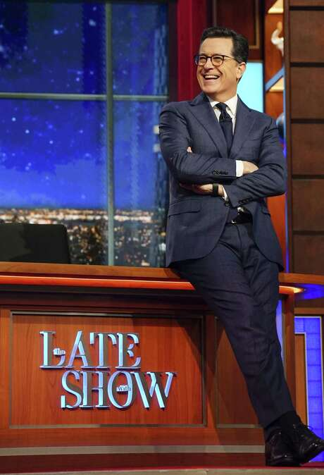 """Host Stephen Colbert appears in February on the set of """"The Late Show with Stephen Colbert"""" in New York. (Gail Schulman/CBS via AP) Photo: Gail Schulman, HONS / é2017 CBS Broadcasting Inc. All Rights Reserved."""