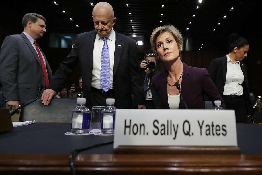 Former intelligence Director James Clapper (second from left) and former acting U.S. Attorney General Sally Yates prepare to testify on Capitol Hill. Photo: Chip Somodevilla, Getty Images