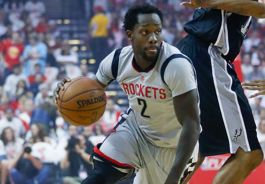 Rockets guard Patrick Beverley drives behind the Spurs' LaMarcus Aldridge during the first half of Game 4 at the Toyota Center on May 7, 2017, in Houston. Photo: Karen Warren /Houston Chronicle / Stratford Booster Club