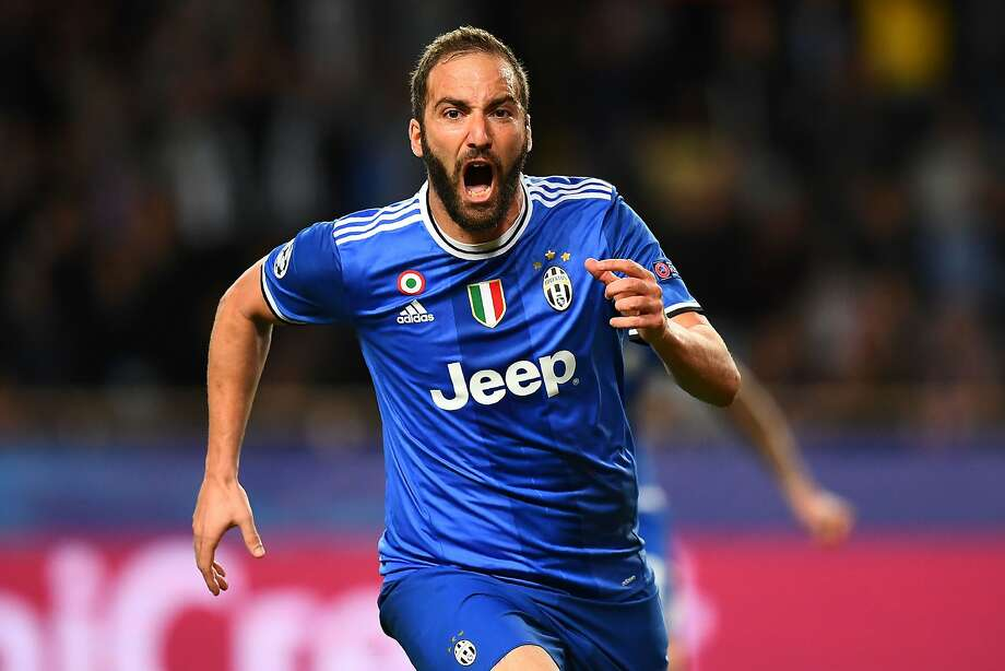 Juventus forward Gonzalo Higuain celebrates his goal during the Champions League semifinal first leg against Monaco. The Italian champions won 2-0 and can advance to the final in this week's second leg. Photo: FRANCK FIFE, AFP/Getty Images