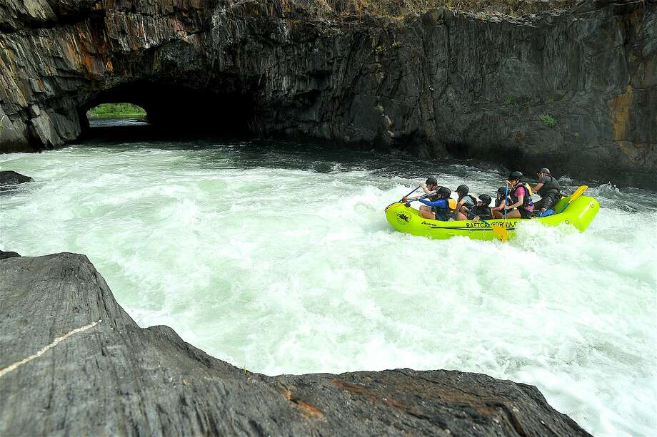 A rafting trip starts the plunge down Tunnel Chute, a whitewater cascade on the Middle Fork American River in Placer County. Photo: Tom Stienstra, Adventure Connection / Special To The Chronicle