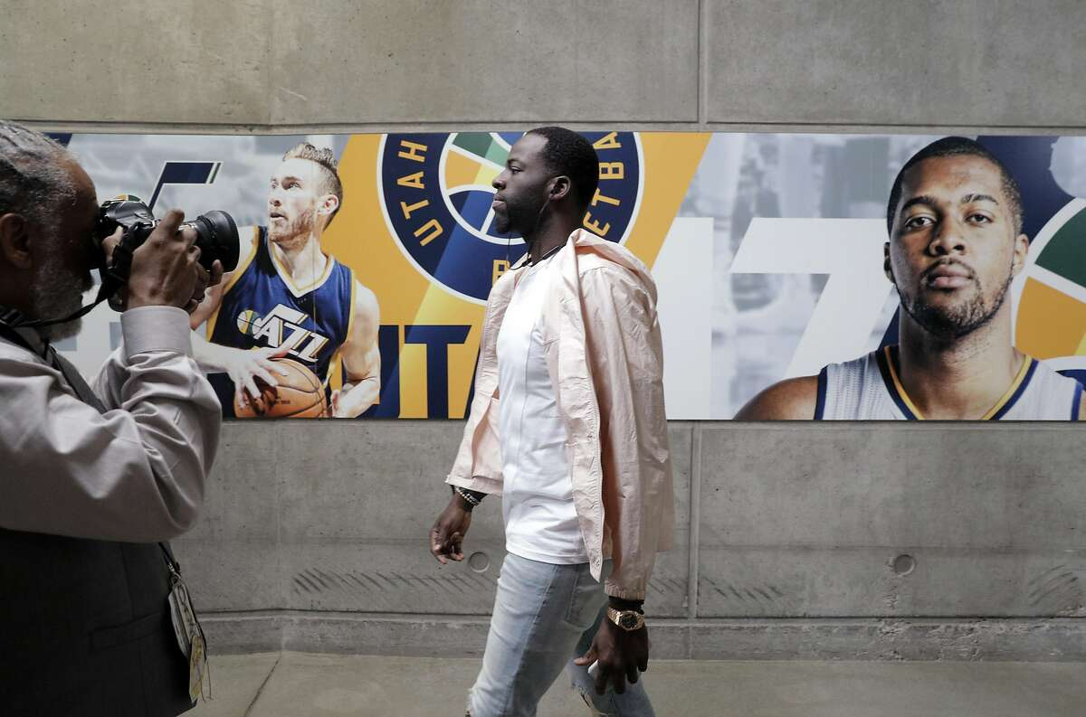 Draymond Green (23) walks into the area before Golden State Warriors played the Utah Jazz at Vivint Smart Home Arena in Salt Lake City, Utah, on Monday, May 8, 2017, in Game 4 of the 2017 Western Conference Semifinals. The Warriors lead the series 3-0.