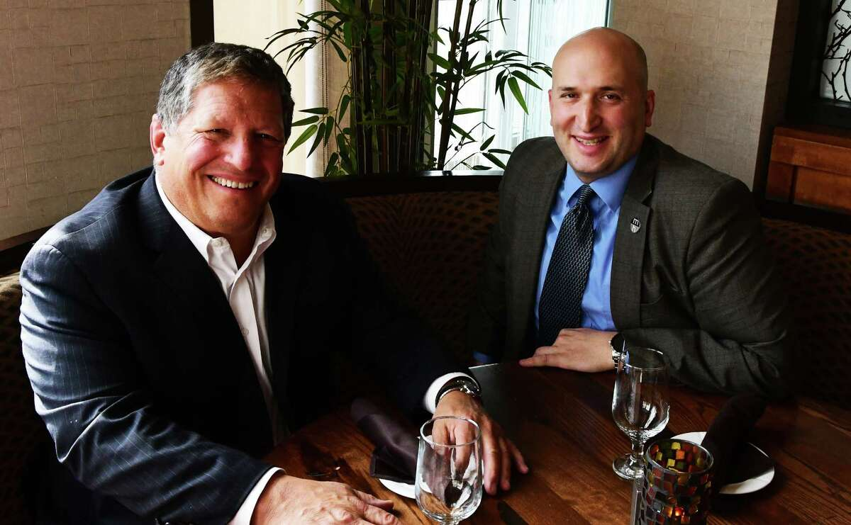 Angelo Mazzone, left, and Matt Mazzone in 2017. (Steve Barnes/Times Union)