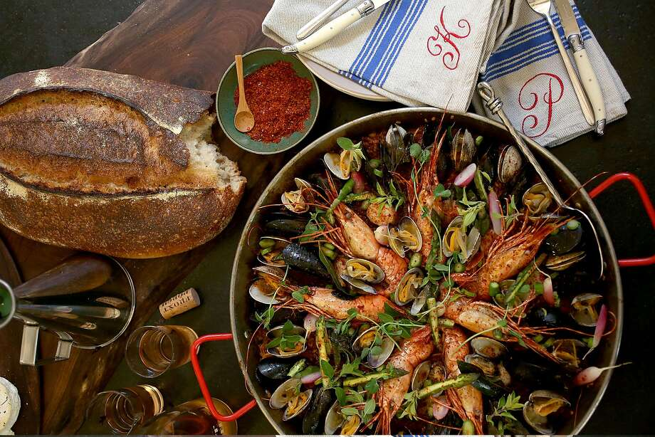 Paella at Perry and Kristen Hoffman's home on Wednesday, May 3, 2017, in Healdsburg, Calif. Photo: Liz Hafalia, The Chronicle