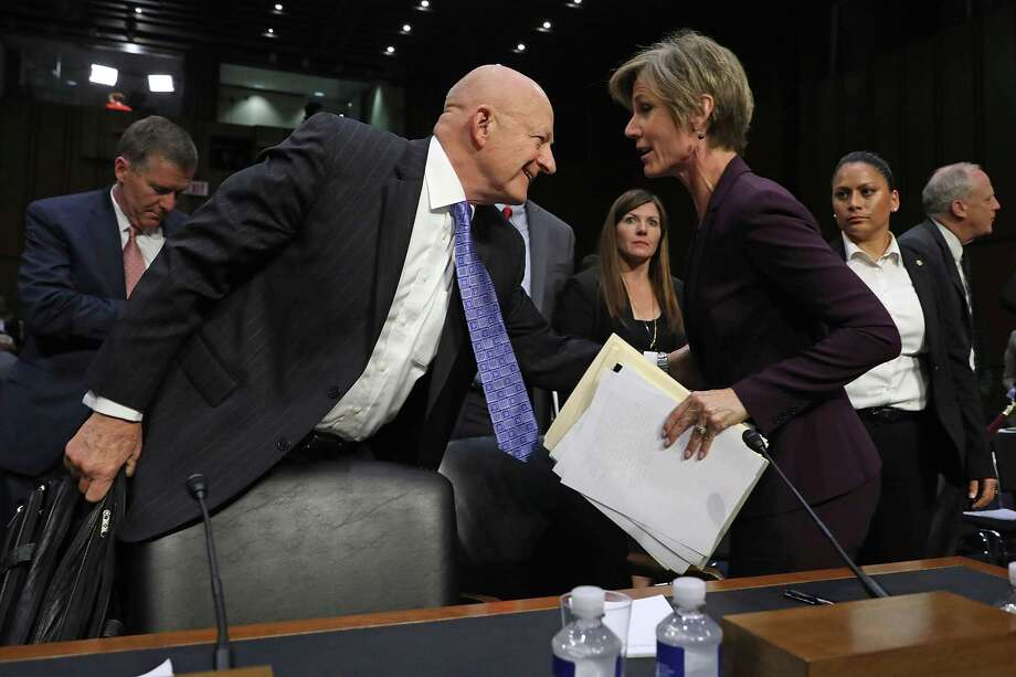 WASHINGTON, DC - MAY 08:  Former Director of National Intelligence James Clapper (L) and former acting U.S. Attorney General Sally Yates leave after testifying before the Senate Judiciary Committee's Subcommittee on Crime and Terrorism in the Hart Senate Office Building on Capitol Hill May 8, 2017 in Washington, DC. Before being fired by U.S. President Donald Trump, Yates had warned the White House about contacts between former National Security Advisor Michael Flynn and Russia that might make him vulnerable to blackmail.  (Photo by Chip Somodevilla/Getty Images) Photo: Chip Somodevilla, Staff / Getty Images / 2017 Getty Images