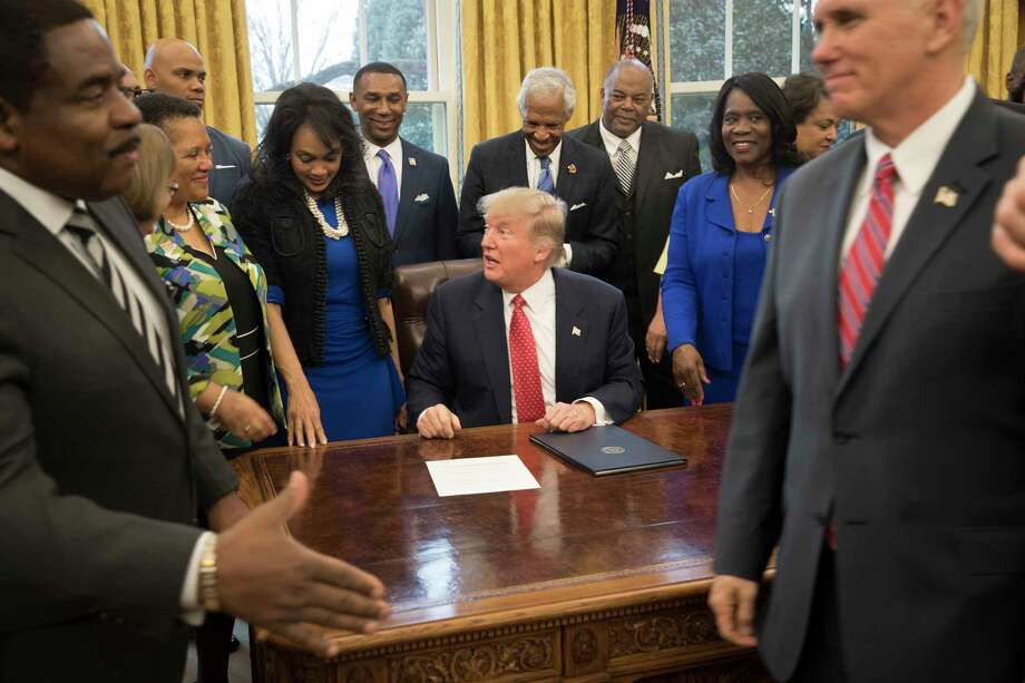 President Donald Trump signed an executive order in February vowing support for historically black colleges and universities.  Photo: STEPHEN CROWLEY, STF / NYTNS