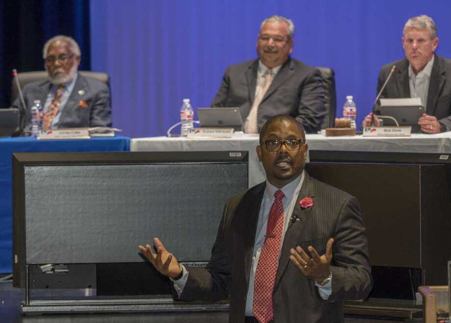 Orlando Riddick, MISD newly announced superintendent, speaks to teachers, administration and parents 5/08/17 following the school board unanimously voting him the lone candidate for the position. Tim Fischer/Reporter-Telegram Photo: Tim Fischer/Midland Reporter-Telegram