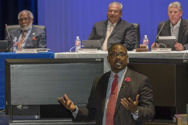 Orlando Riddick, MISD newly announced superintendent, speaks to teachers, administration and parents 5/08/17 following the school board unanimously voting him the lone candidate for the position. Tim Fischer/Reporter-Telegram