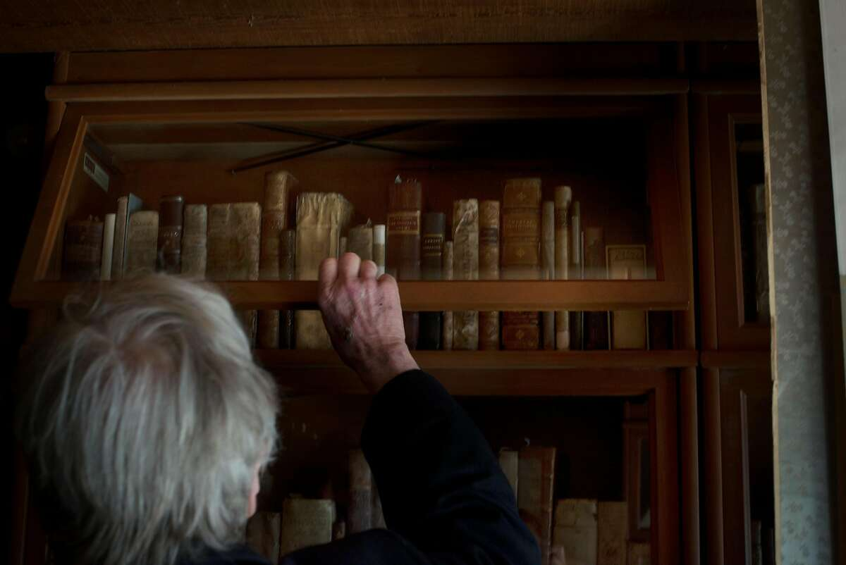 Winemaker Sean Thackrey in the library of his home in Bolinas, California. May 4, 2017