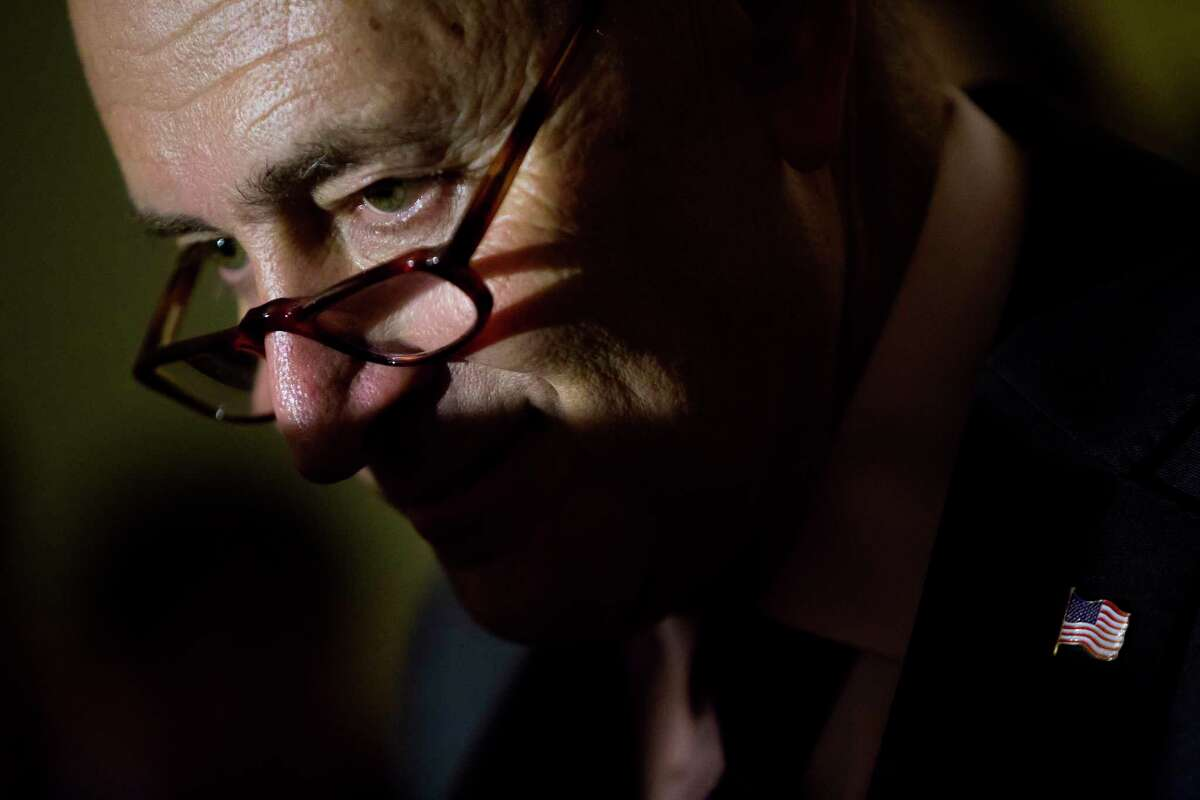 Senate Minority Leader Chuck Schumer (D-N.Y.) during a news conference following weekly policy luncheons, on Capitol Hill in Washington, May 2, 2017. (Eric Thayer/The New York Times)