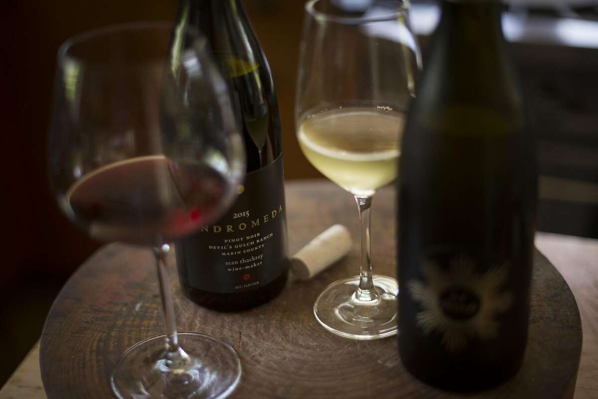 A bottle of 2015 Andromeda from Devil's Gulch Ranch in Marin and a bottle of La Pleiade produced by winemaker Sean Thackrey of Bolinas, California. May 4, 2017