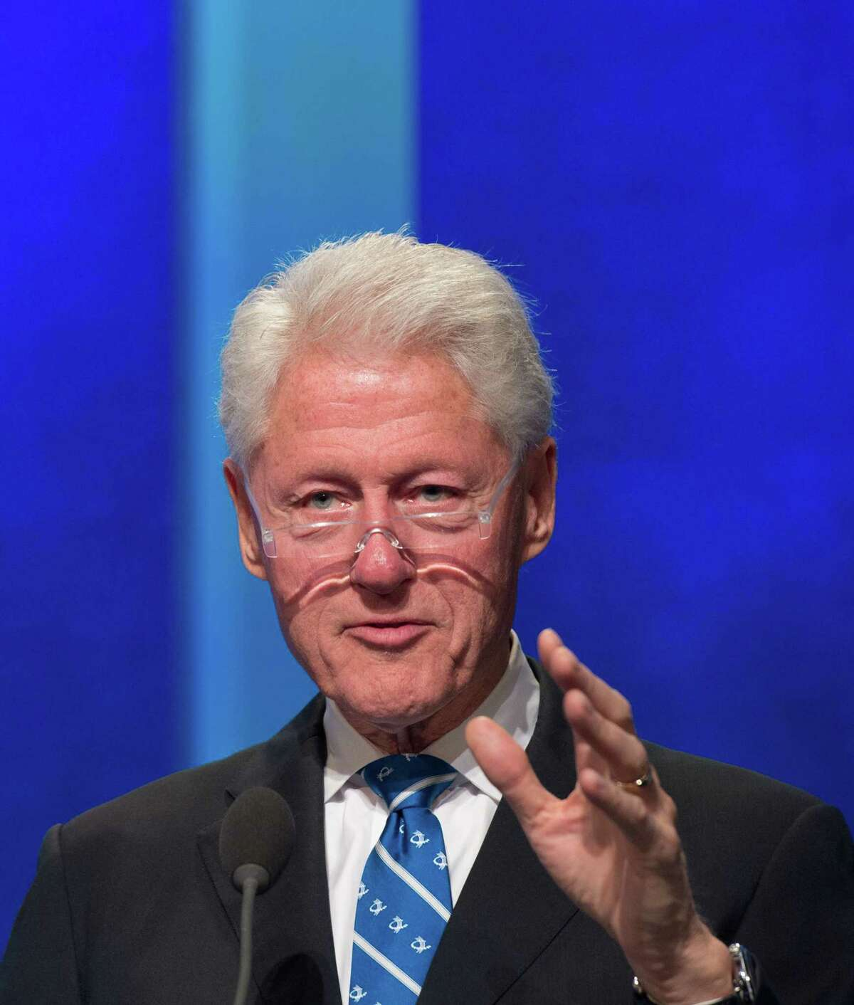 (FILES) This file photo taken on September 19, 2016 shows former US President and founder of the Clinton Foundation Bill Clinton speaking at the Clinton Global Initiative in New York. Clinton is writing his first thriller about drama behind the scenes in the White House, his publishers announced on May 8, 2017. Clinton is collaborating with bestselling US author James Patterson on