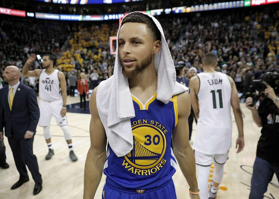 Stephen Curry (30) walks around the court after the Golden State Warriors defeated the Utah Jazz at Vivint Smart Home Arena in Salt Lake City, Utah, on Monday, May 8, 2017, in Game 4 of the 2017 Western Conference Semifinals. The Warriors defeated the Jazz 121-95 to sweep the series and advance to the Western Conference Finals Photo: Carlos Avila Gonzalez, The Chronicle
