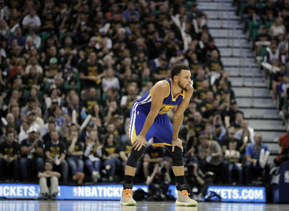 Stephen Curry (30) watches a free throw by a teammate in the second half as the Golden State Warriors played the Utah Jazz at Vivint Smart Home Arena in Salt Lake City, Utah, on Monday, May 8, 2017, in Game 4 of the 2017 Western Conference Semifinals. The Warriors defeated the Jazz 121-95 to sweep the series and advance to the Western Conference Finals Photo: Carlos Avila Gonzalez, The Chronicle