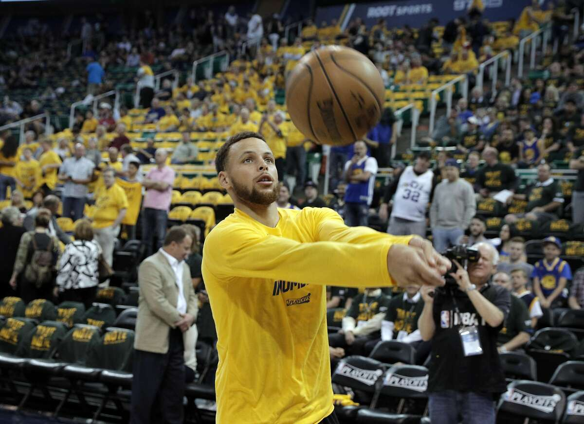 Stephen Curry (30) does a little volleyball game with Ian Clark (21) before the Golden State Warriors played the Utah Jazz at Vivint Smart Home Arena in Salt Lake City, Utah, on Monday, May 8, 2017, in Game 4 of the 2017 Western Conference Semifinals. The