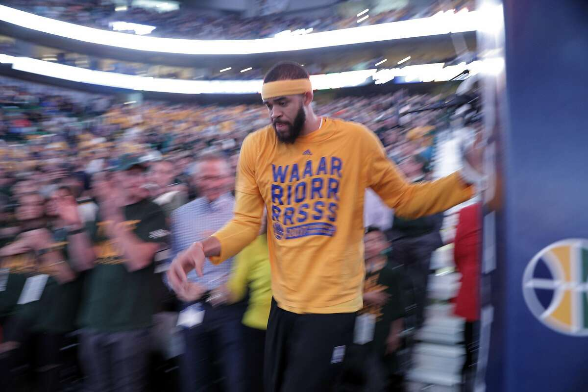 JaVale McGee (1) completes his pre-game ritual of running behind the stanchion by climbing around through the stands before the Golden State Warriors played the Utah Jazz at Vivint Smart Home Arena in Salt Lake City, Utah, on Monday, May 8, 2017, in Game 4 of the 2017 Western Conference Semifinals. The