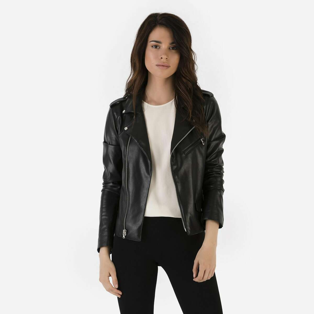"""R Label's 16- piece collection of """"elevated basics"""" includes draped washed-silk tanks, tunics and tees, throw-on-and-go dresses, flattering leggings, easy Saturday pants and chic layers � la silk blazers and slim dusters in fine Merino wool, a washed-silk trench and vegan moto jacket."""