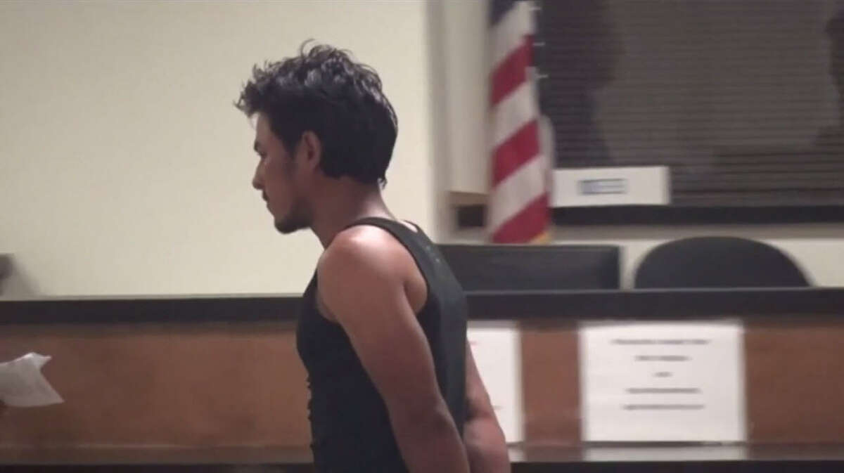 Moises Ayala, 25, appears before a Harris County magistrate who denied bail for the man charged with capital murder in the April slaying of his sister-in-law. He appeared via video conference late Monday, May 8, 2017. (Metro Video)