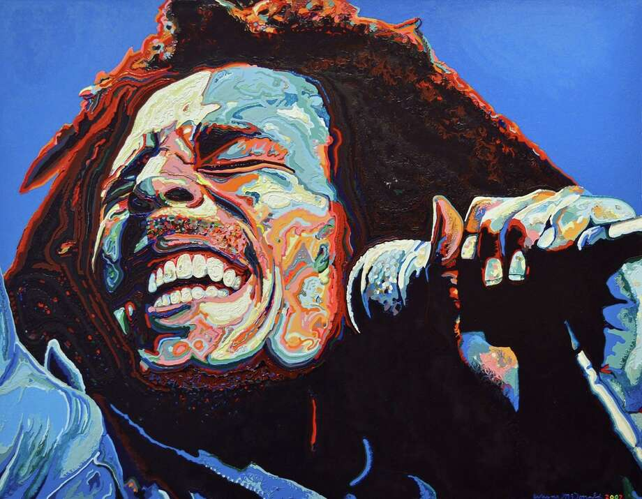 Wayne McDonald's acrylic painting of the iconic musician Bob Marley which is currently on display at the Gallery at the Madeley Building.