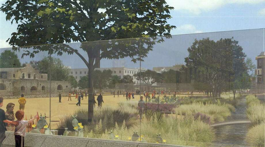 The structural glass interpretation of part of the north wall of the Alamo compound in the proposed plan allows visitors to get a sense of the historic layout of the battle site. They will be able to view the interpreted acequia from outside the plaza. Photo: Courtesy Illustration / Texas General Land Office