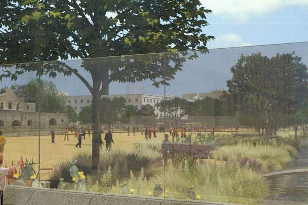 The structural glass interpretation of part of the north wall of the Alamo compound in the proposed plan allows visitors to get a sense of the historic layout of the battle site. They will be able to view the interpreted acequia from outside the plaza.