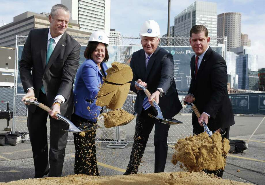 On May 8, 2017, General Electric CEO Jeff Immelt, center right, participates in a ceremonial groundbreaking with Massachusetts Gov. Charlie Baker, GE executive Ann Klee and Boston Mayor Marty Walsh. (AP Photo/Michael Dwyer) Photo: Michael Dwyer / Associated Press / Copyright 2017 The Associated Press. All rights reserved.