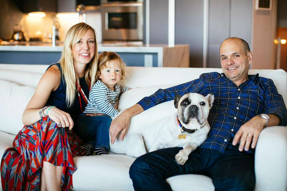 Designer Benni Amadi with her son, Lucas, Marlo the dog and husband Carlos Delatorre in their S.F. home. Photo: Mason Trinca, Special To The Chronicle