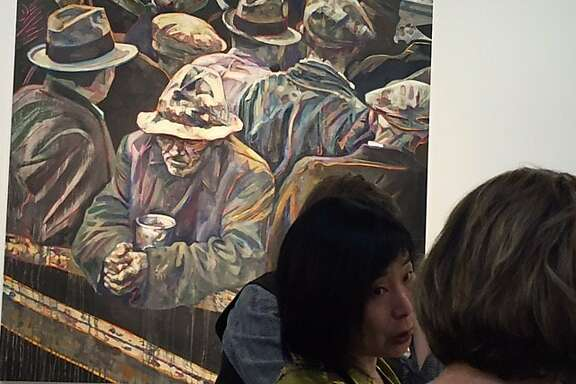 Dinner at Rena Bransten Gallery in front of Hung Liu painting based on Lange's 'White Angel Bread Line'