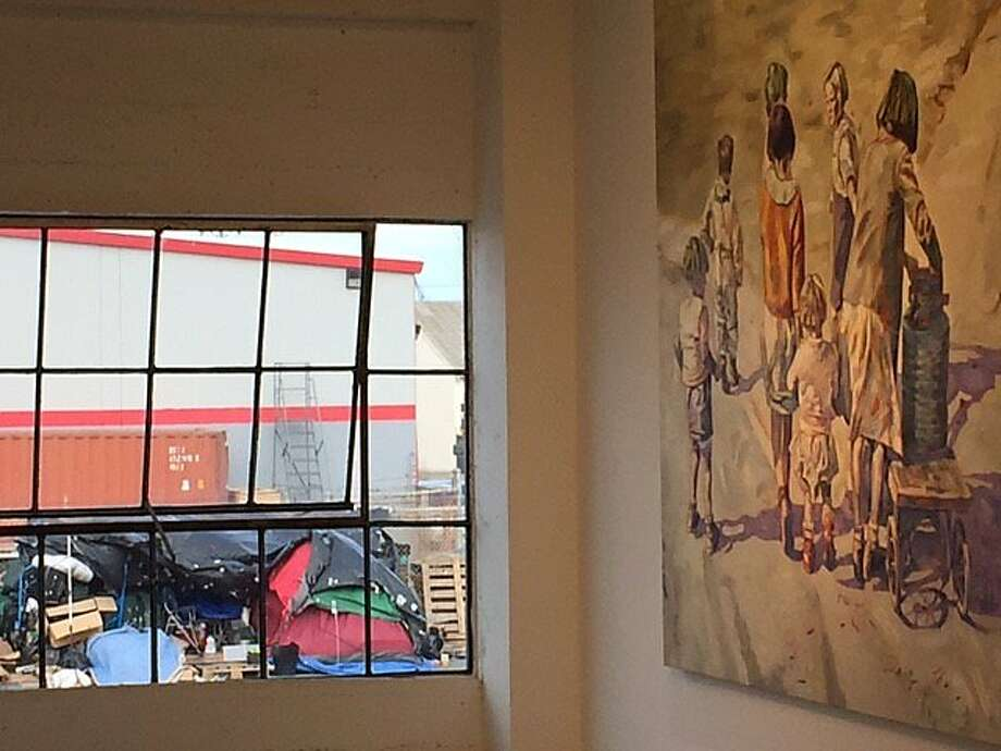 Inside the Rena Bransten Gallery and outside, Photo: Leah Garchik, San Francisco Chronicle