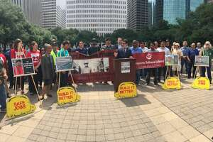 Activists and organizers gathered at Houston city hall to release a report jointly compiled by the Workers Defense Project, the Partnership for Working Families and the College of Urban Planning and Public Affairs at the University of Illinois at Chicago.