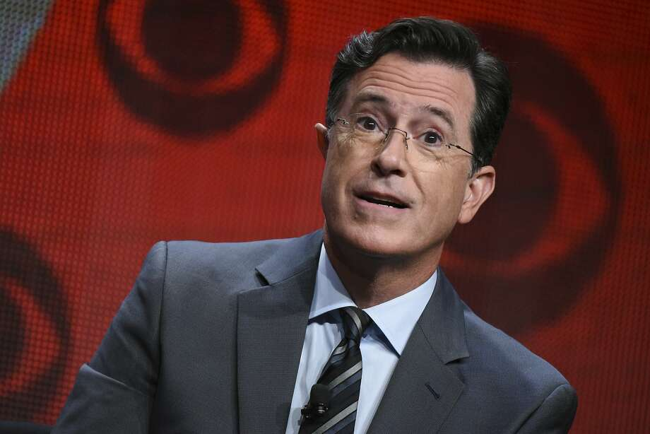 """FILE - In this Aug. 10, 2015, file photo, Stephen Colbert participates in """"The Late Show with Stephen Colbert"""" segment of the CBS Summer TCA Tour in Beverly Hills, Calif. Colbert says he has no regrets about insulting President Donald Trump in a monologue that included a crude sexual reference and prompted calls to fire him and boycott """"Late Show"""" advertisers. In his Wednesday, May 3, 2017, monologue, Colbert says he would change """"a few words that were cruder than they needed to be"""" but he'd still do it again.  (Photo by Richard Shotwell/Invision/AP, File) Photo: Richard Shotwell, Associated Press"""