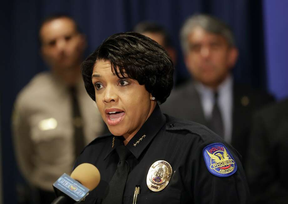 Phoenix Police Chief Jeri L. Williams announces, Monday, May 8, 2017, in Phoenix, the arrest of 23-year-old Aaron Saucedo in connection with the serial street shootings that terrorized the Phoenix area over four months in 2016. (AP Photo/Matt York) Photo: Matt York, Associated Press