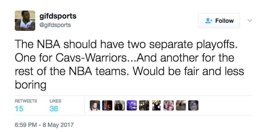 "Fans on Twitter react to the Warriors' ""boring"" playoff run. Photo: Screenshot Via Twitter"