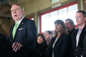 Seattle Mayor Ed Murray announces his withdrawal from the 2017 mayoral race following sex abuse claims, at the Alki Beach Bathhouse on Tuesday, May 9, 2017.