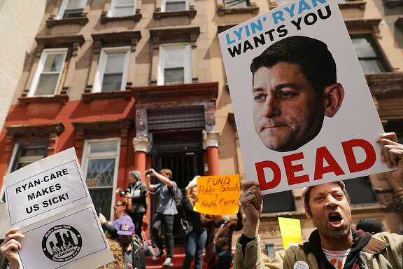 NEW YORK, NY - MAY 09:  Dozens of health care activists protest in front of a Harlem charter school before the expected visit of House Speaker Paul Ryan on May 9, 2017 in New York City. The activists groups are highly critical of Ryan and the recent passage of the GOP healthcare bill in the House.  (Photo by Spencer Platt/Getty Images)