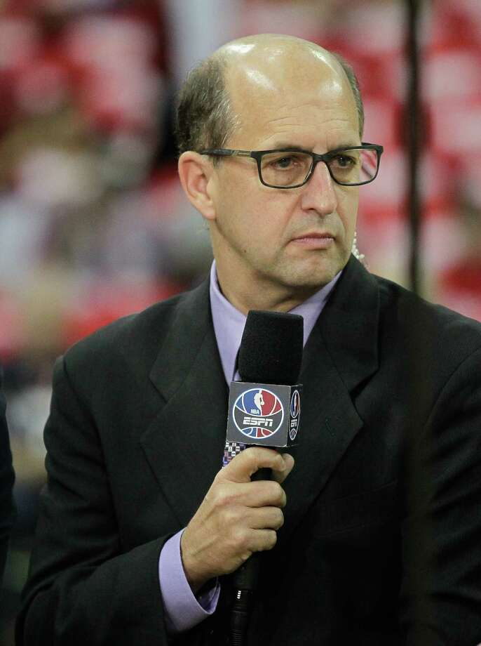 HOUSTON, TX - MAY 23: ESPN basketball analyst Jeff Van Gundy during Game Three of the Western Conference Finals at Toyota Center on May 23, 2015 in Houston, Texas. Photo: Bob Levey/Getty Images, Contributor / 2015 Getty Images