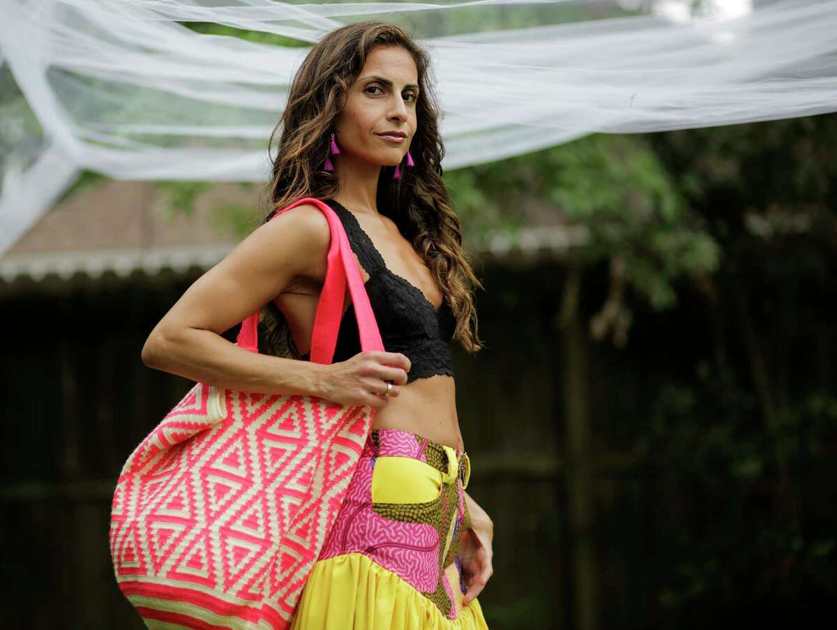 Sarrah Zadeh, founder of La Mochi handbags and accessories, at her home on Monday, April 10, 2017, in Houston. ( Elizabeth Conley / Houston Chronicle )